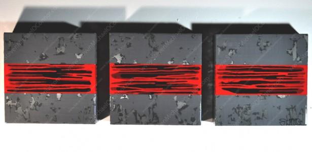 """1,2,3...Restrike"" Triptych (3) 1x1 FT Oil, Acrylic & Latex on Wood"